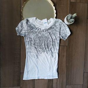 Affliction Gem Fleur de Lis Angel Wing T Shirt S